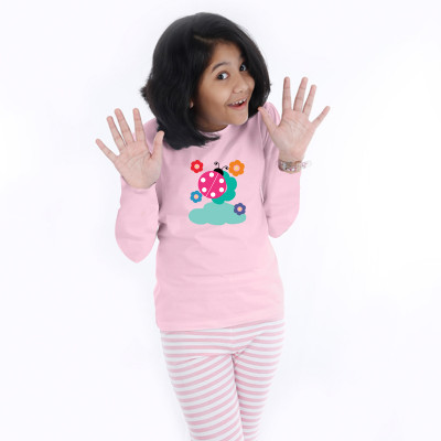 Pink Full Sleeve Girls Pyjama - Lady bug